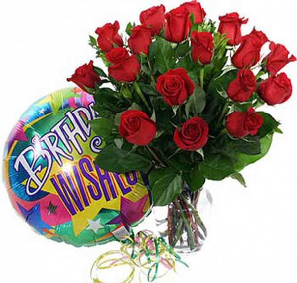 Celebrate In Style With This Abundant Vase Arrangement Of 18 Beautiful Red Roses Accompanied By A Festive Mylar Birthday Balloon Message Happy